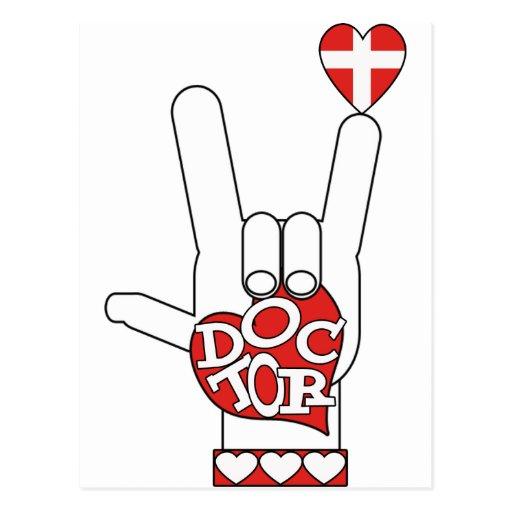 DOCTOR ASL SIGN I LOVE YOU - HEART - MEDICAL CROSS POSTCARD