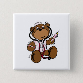 Doctor Bear Lady Pinback Button