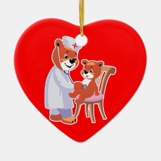 doctor bear tending patient christmas ornaments