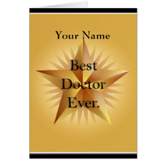 Doctor Best Ever Gold Star Greeting Stationery Note Card