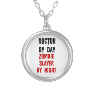 Doctor by Day Zombie Slayer by Night Round Pendant Necklace
