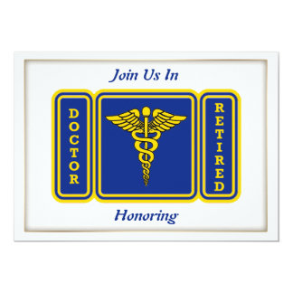 Doctor Caduceus Shield Retirement Invitation