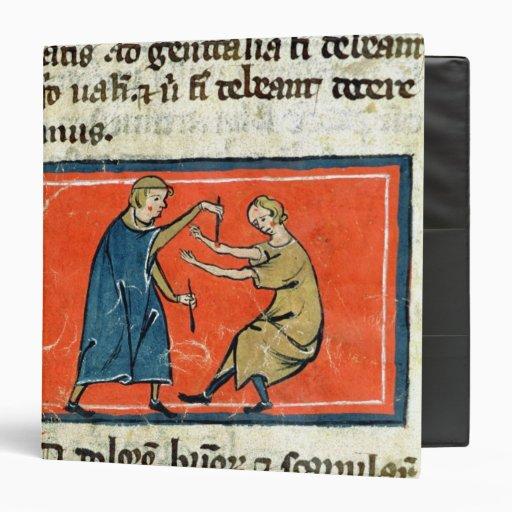 Doctor cauterising a wound with fire vinyl binder