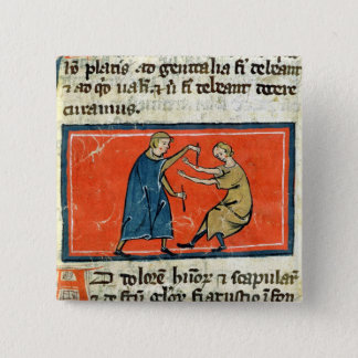 Doctor cauterising a wound with fire pinback button