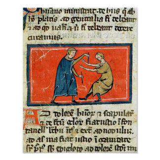 Doctor cauterising a wound with fire posters