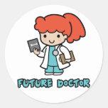 Doctor (chica) etiqueta redonda