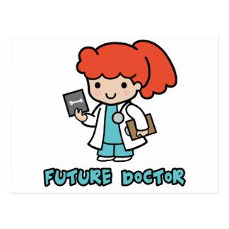 Doctor chica tarjeta postal