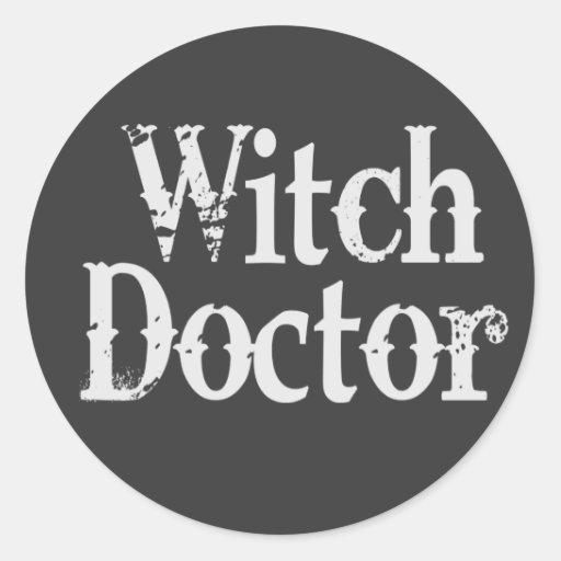 Doctor de bruja etiquetas redondas
