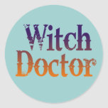 Doctor de bruja pegatina redonda