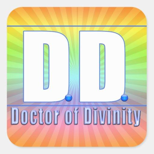 Doctor de la DD del LOGOTIPO de las siglas de la Pegatina Cuadrada