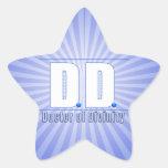 Doctor de la DD del LOGOTIPO de las siglas de la Pegatina Forma De Estrella Personalizada