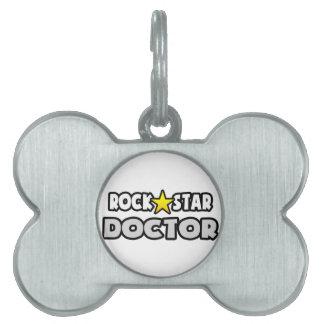 Doctor de la estrella del rock placa de nombre de mascota
