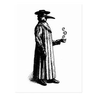 Doctor de la plaga con un Cuppa caliente Tarjetas Postales