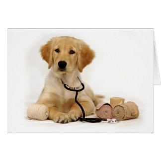 Doctor de oro del perrito tarjeta de felicitación