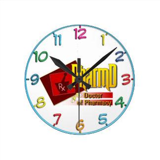 Doctor de PharmD del LOGOTIPO de la farmacia Relojes De Pared