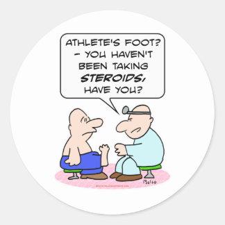 doctor de pie de atletas de los esteroides pegatina redonda