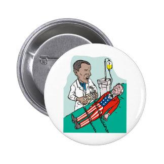 Doctor de presidente Barack Obama que cura tío Sam Pin Redondo De 2 Pulgadas