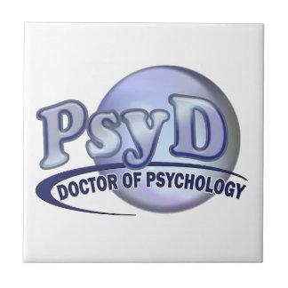 Doctor de PsyD del LOGOTIPO de la psicología Azulejo Cuadrado Pequeño