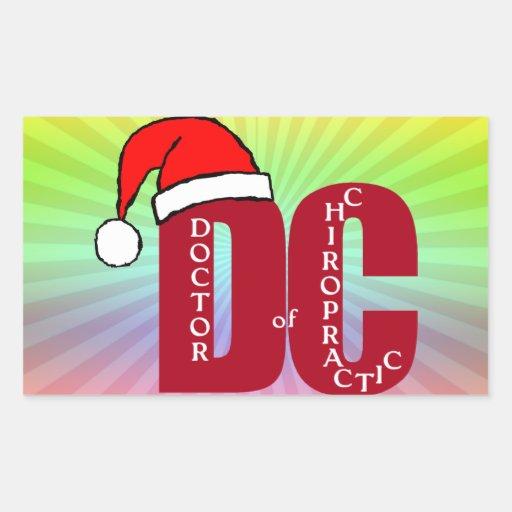 Doctor de Santa DC del logotipo del navidad de la Pegatina Rectangular
