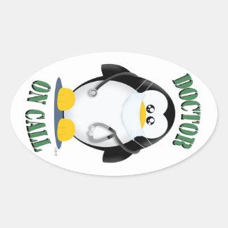 Doctor en pingüino de la llamada colcomanias oval personalizadas