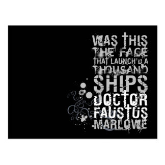 Doctor Faustus Quote (B&W) Postcard