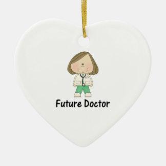 doctor futuro (chica) adorno navideño de cerámica en forma de corazón
