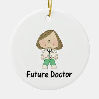 doctor futuro (chica) adorno navideño redondo de cerámica