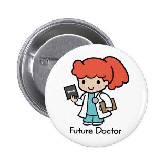 Doctor futuro - chica pin redondo de 2 pulgadas