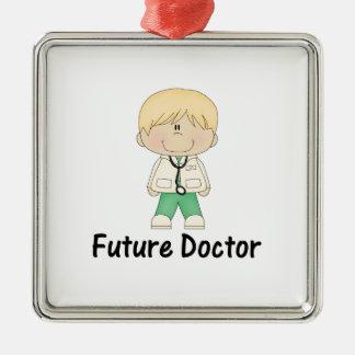 doctor futuro (muchacho) adorno navideño cuadrado de metal