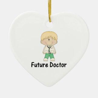 doctor futuro (muchacho) adorno navideño de cerámica en forma de corazón