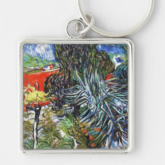 Doctor Gauchet`s Garden in Auvers Vincent van Gogh Silver-Colored Square Keychain