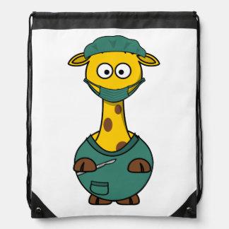 Doctor Giraffe Drawstring Backpack