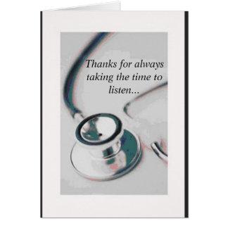 doctor, gracias por siempre llevar el tiempo el li tarjeta de felicitación