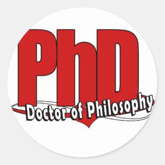 DOCTOR GRANDE del PhD del ROJO del LOGOTIPO de la Pegatina Redonda