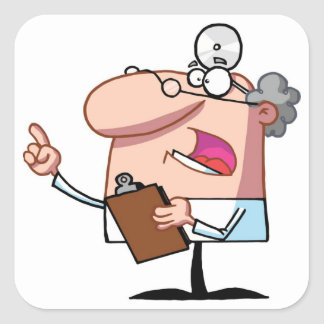 Doctor holding a  clipboard square sticker