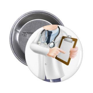 Doctor Holding Clipboard Cartoon Pins