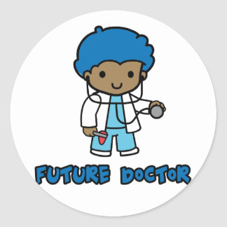 Doctor (muchacho) pegatina redonda