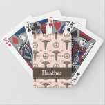 "Doctor of Physical Therapy Bicycle Playing Cards<br><div class=""desc"">A caduceus, peace symbol and heart design on a pink and brown custom Bicycle&#174; playing cards set and deck with the initials DPT on it can be personalized with a name on it. This makes a wonderful gift for a doctor of physical therapy student, graduate or practicing physical therapist. Design...</div>"