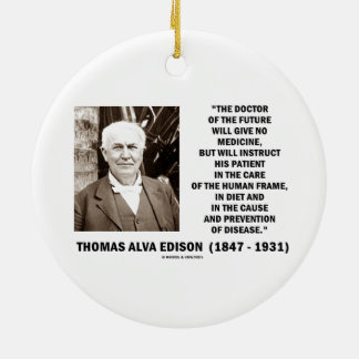 Doctor Of The Future Give No Medicine Prevention Double-Sided Ceramic Round Christmas Ornament
