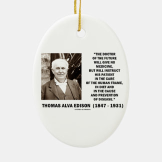 Doctor Of The Future Give No Medicine Prevention Double-Sided Oval Ceramic Christmas Ornament