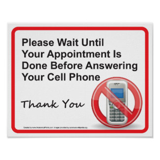 Doctor Office Cell Phone Reminder Wall Sign Poster