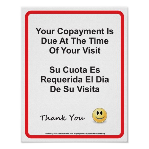 Doctor Office Copayment Wall Sign English Spanish | Zazzle.com