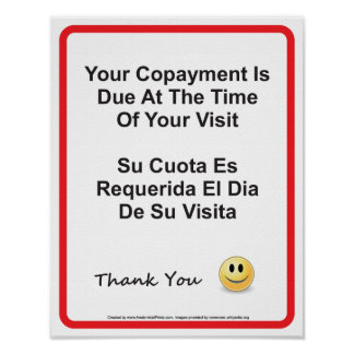 Doctor Office Copayment Wall Sign English Spanish Poster