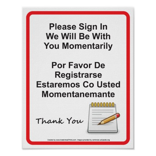 doctor office patient sign in wall sign print zazzle