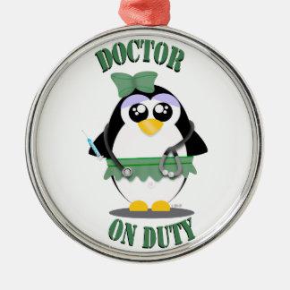 Doctor on Duty Penguin (female) Metal Ornament