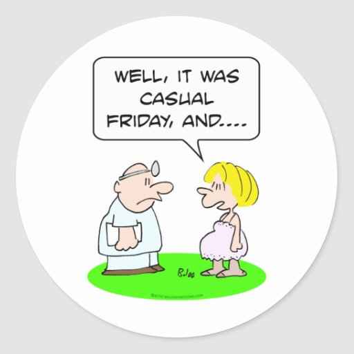 doctor patient pregnant casual friday round sticker