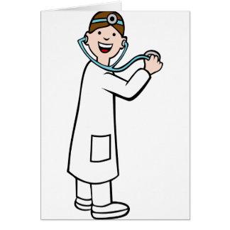 Doctor personaje de dibujos animados del tarjeta de felicitación