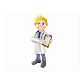 Doctor pointing at clipboard post card