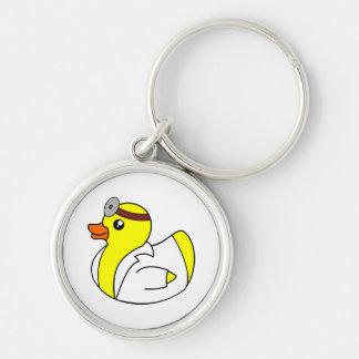 Doctor Quack the Rubber Duck Silver-Colored Round Keychain
