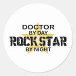 Doctor Rock Star Night Classic Round Sticker